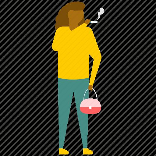cigarette smoking, female smoker, smoker, smoking, smoking woman icon