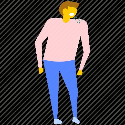 back pain patient, backache, disease, male patient, sick person icon