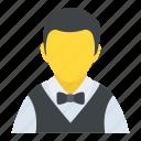 bartender, hotel attendant, male waiter, waiter, waitperson icon