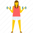 athletic girl, exercising girl, gym, woman holding dumbbells, workout icon
