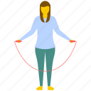 activity, exercising girl, fitness, jumping rope, skipping rope icon