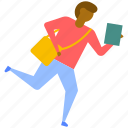 running student, student boy running, student holding book, student in hurry, young adult running icon