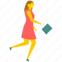 running student, student girl running, student holding book, student in hurry, young adult running icon