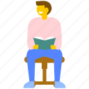 book reading, book reading boy, college student reading, librarian man, student reading book icon