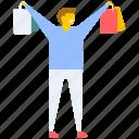 buying, lifestyle, shopping, shopping boy, shopping man icon