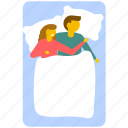 bedroom, couple sleeping, resting, young couple in bed, young couple sleeping icon
