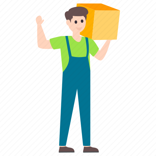 carrying box, carrying cardboard, delivery boy, delivery man, worker icon