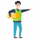 carrying cardboard, delivery boy, delivery man, holding box, worker icon