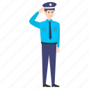 patrolman, police, police officer, policeman, saluting officer icon