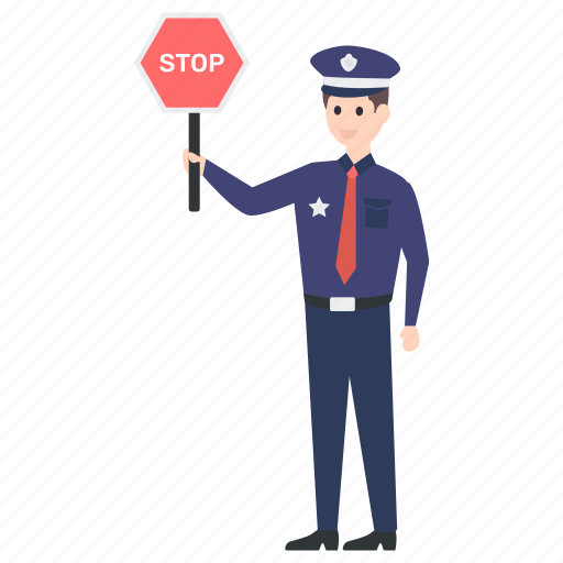 police officer, policeman, road sign, stop sign, stop symbol icon
