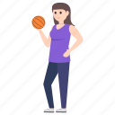 basketball player, female player, outdoor game, sportsman, sportsperson icon