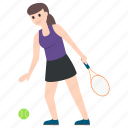 female player, outdoor game, sportsperson, sportswoman, tennis player icon