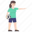 female player, football player, outdoor game, soccer player, sportswoman icon