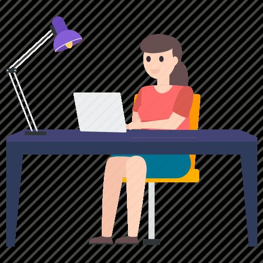 businesswoman, female employee, female worker, working woman, workstation icon
