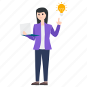 business idea, businessperson, businesswoman, creativity, innovation icon