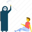 evil, revenge, zombie attacking, zombie axe attack, zombie axe murder icon