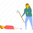 evil, female killer, revenge, zombie axe attack, zombie axe murder icon