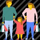family enjoying shopping, family shopping, family with shopping bags, people shopping, shopping icon