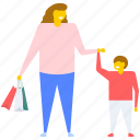 family buying, family shopping, mother and son buying, mother and son shopping, shopping icon