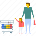 family buying, family shopping, father and daughter buying, father and daughter shopping, shopping icon