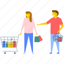 couple in supermarket, couple shopping, family shopping, husband and wife shopping, people shopping icon