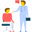 hospital, medical clinic, medical office, patient visit to doctor, patient with doctor icon