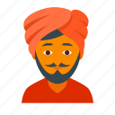 alladin, hindu, indian, male, man, mustache, turban icon