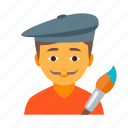 artist, brush, craftsman, designer, male, mustache, painter icon