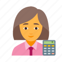 bookkeeper, business, female, finance, financial, marketing, money icon