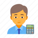 bookkeeper, business, finance, financial, male, marketing, money icon