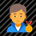 award, boy, champion, male, man, sportsman, winner icon