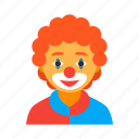 circus, clown, funny, jester, male, man, red icon