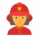 female, fighter, fire, firefighting, fireman, rescuer, woman icon