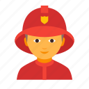 fighter, fire, firefighting, fireman, male, man, rescuer icon