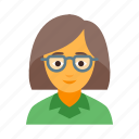 female, fool, fop, geck, geek, girl, nerd icon