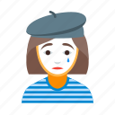 circus, female, france, french, lady, mime, pantomime icon