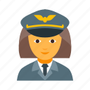 aviation, aviator, female, flier, lady, pilot, woman icon