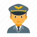 aviation, aviator, cap, flier, male, man, pilot icon