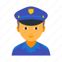 boy, cap, male, man, officer, police, policeman icon