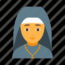 faith, female, nun, priest, religion, religious, woman icon