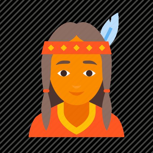 american, female, indian, injun, native, red, redskin icon