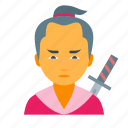 boy, japan, japanese, male, man, samurai, warrior icon