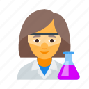 chemist, chemistry, female, laborant, scientist, vial, women icon