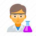 chemist, chemistry, laborant, male, medical, scientist, vial icon