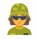 army, female, helmet, military, soldier, war, weapon icon