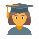 education, female, learning, school, student, study, university icon