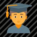 education, knowledge, male, school, student, study, university icon