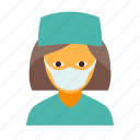 doctor, female, mask, medical, nurse, surgeon, surgery icon