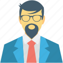 accountant, banker, businessman, male avatar, manager, official icon