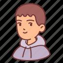 man, hood, male, people, boy, avatar, teenager icon